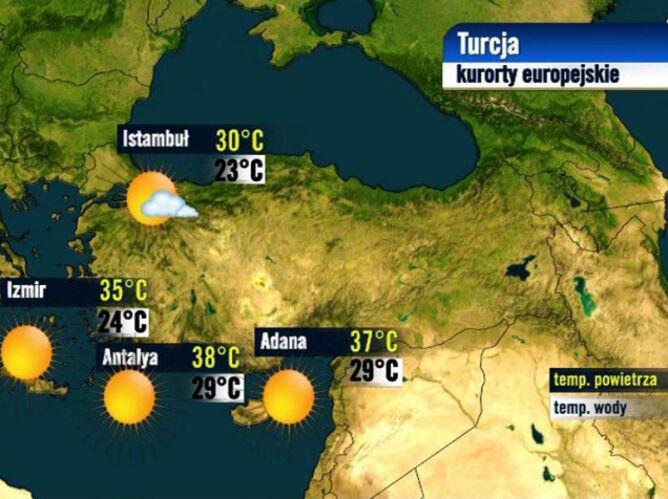 Prognoza pogody dla kurortów w Turcji, 24.08