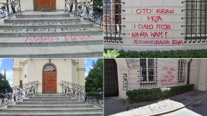 """Napisy na kościelnych budynkach. """"Wandalizm i barbarzyństwo"""""""