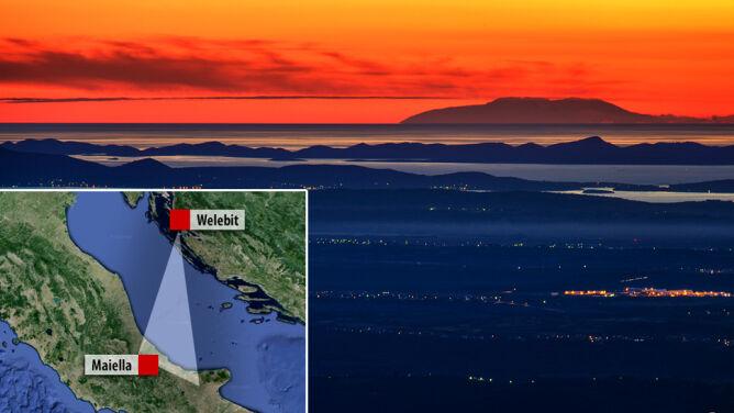 Włoskie szczyty z chorwackiego wzgórza. Obserwacja na 280 km