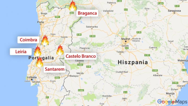 Miejsca, w których płoną lasy