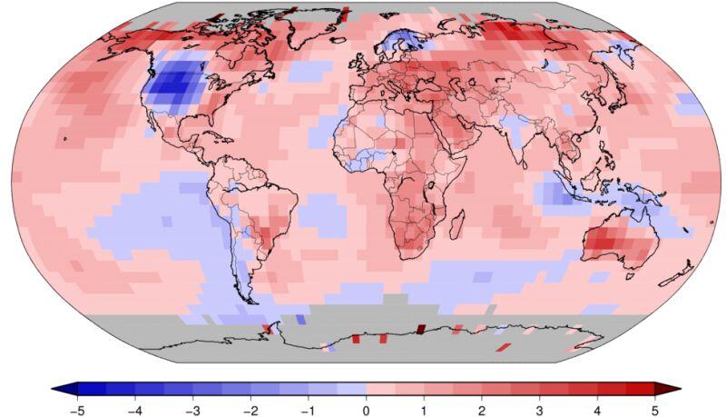 Odchylenie od średniej temperatury w październiku 2019 roku (ncdc.noaa.gov)