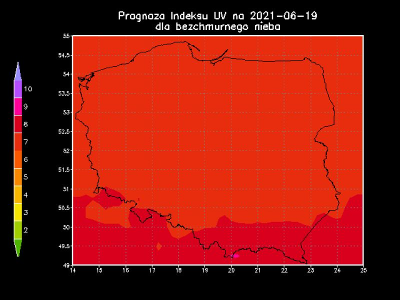 Prognoza indeksu UV na 19 czerwca 2021 r. dla bezchmurnego nieba (IMGW)